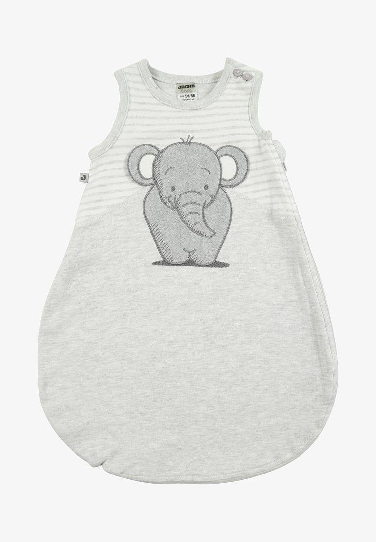Jacky Baby - ELEPHANT - Nachtwäsche Schlafsack - hellgrau melange/ringel