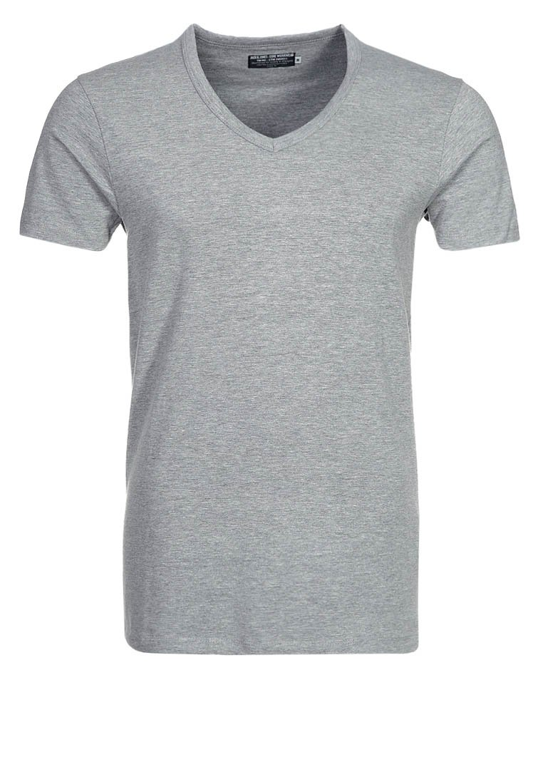 Jack & Jones - BASIC V-NECK  - T-Shirt basic - light grey melange
