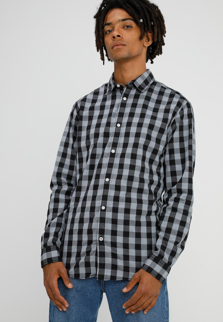 Jack & Jones JJEGINGHAM - Koszula - dark grey/mixed black