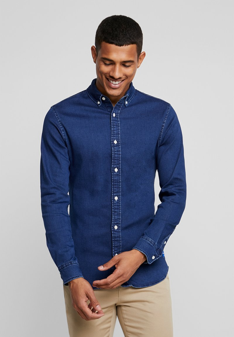 Jack & Jones - JJIGEORGE SUPER SLIM FIT - Skjorta - dark blue denim