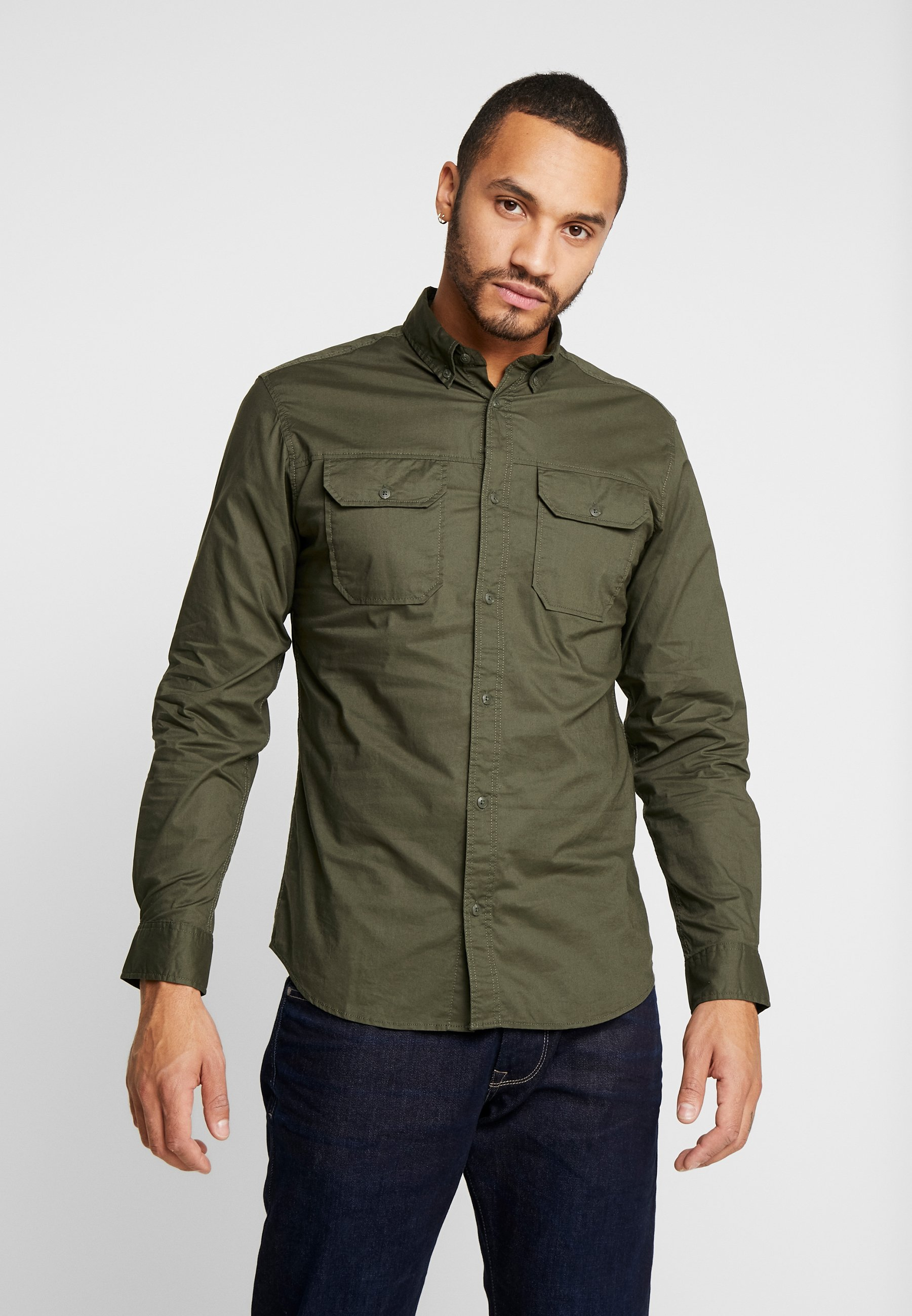 Jack & Jones JCOGERALDTON SHIRT MIX SLIM FIT - Koszula - forest night