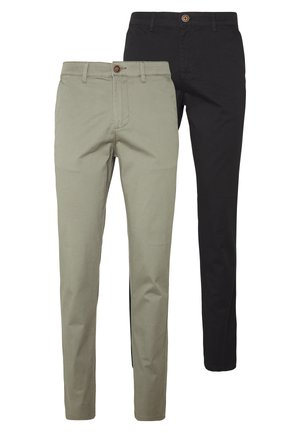 JJIMARCO JJDAVE 2 PACK - Pantalones chinos - black/dusty olive