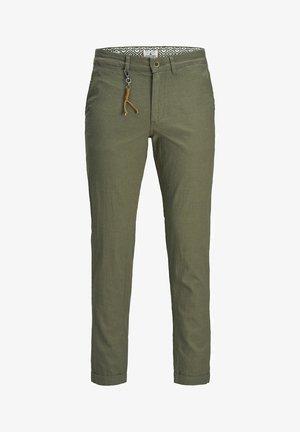CHINO ACE LINEN AKM 986 - Trousers - olive night