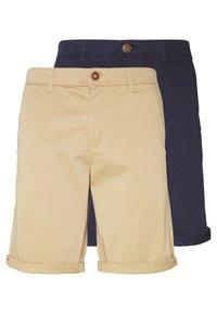 navy blazer/beige