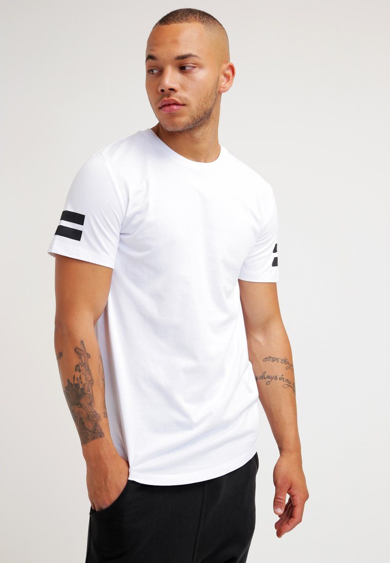 Jack & Jones - JCOBORO CREW NECK SLIM FIT  - T-shirt z nadrukiem - white