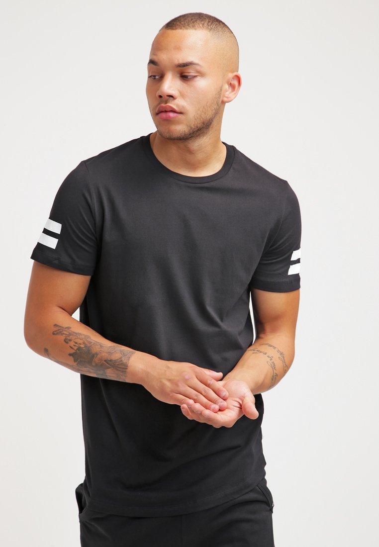 Jack & Jones - JCOBORO CREW NECK SLIM FIT  - T-shirt print - black