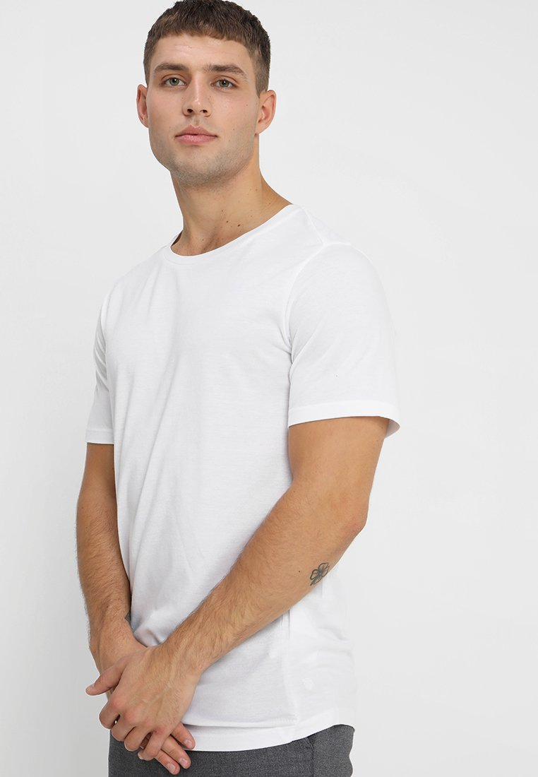 Jack & Jones PREMIUM - JPRMOCK CREW NECK - T-shirt basique - white