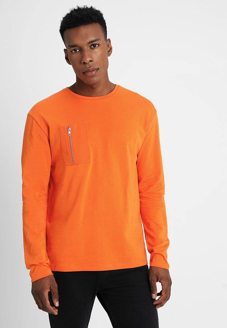 À Jackamp; Jones NeckT Orange Tee Jcofabric Crew Manches Persimmon shirt Longues hsrtQdC