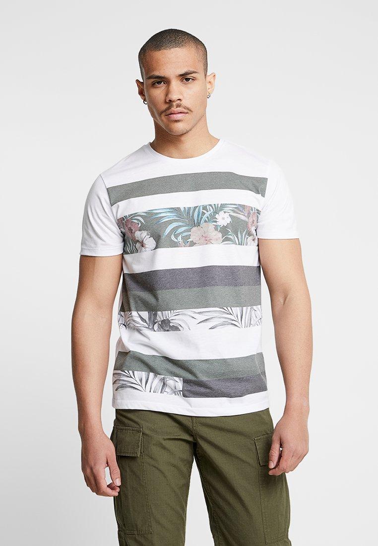 Jack & Jones - JORABSTRACT TEE CREW NECK - Print T-shirt - white