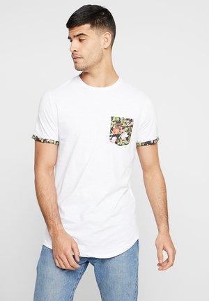 JORSAMMY TEE CREW NECK - T-Shirt print - white/slub