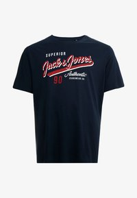 Jack & Jones - JJELOGO TEE  CREW NECK  - Print T-shirt - navy - 4