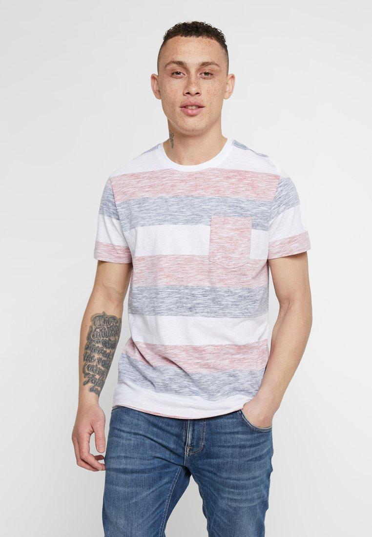 Jack & Jones - JORRANKLY STRIPE TEE CREW NECK REGULAR FIT - Print T-shirt - white