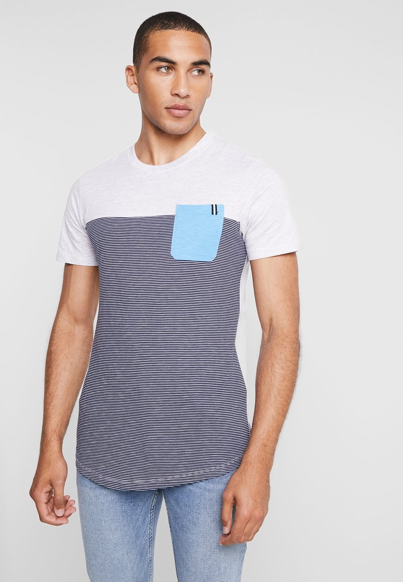 Jack & Jones - JCOSECT TEE CREW NECK - T-Shirt print - white melange