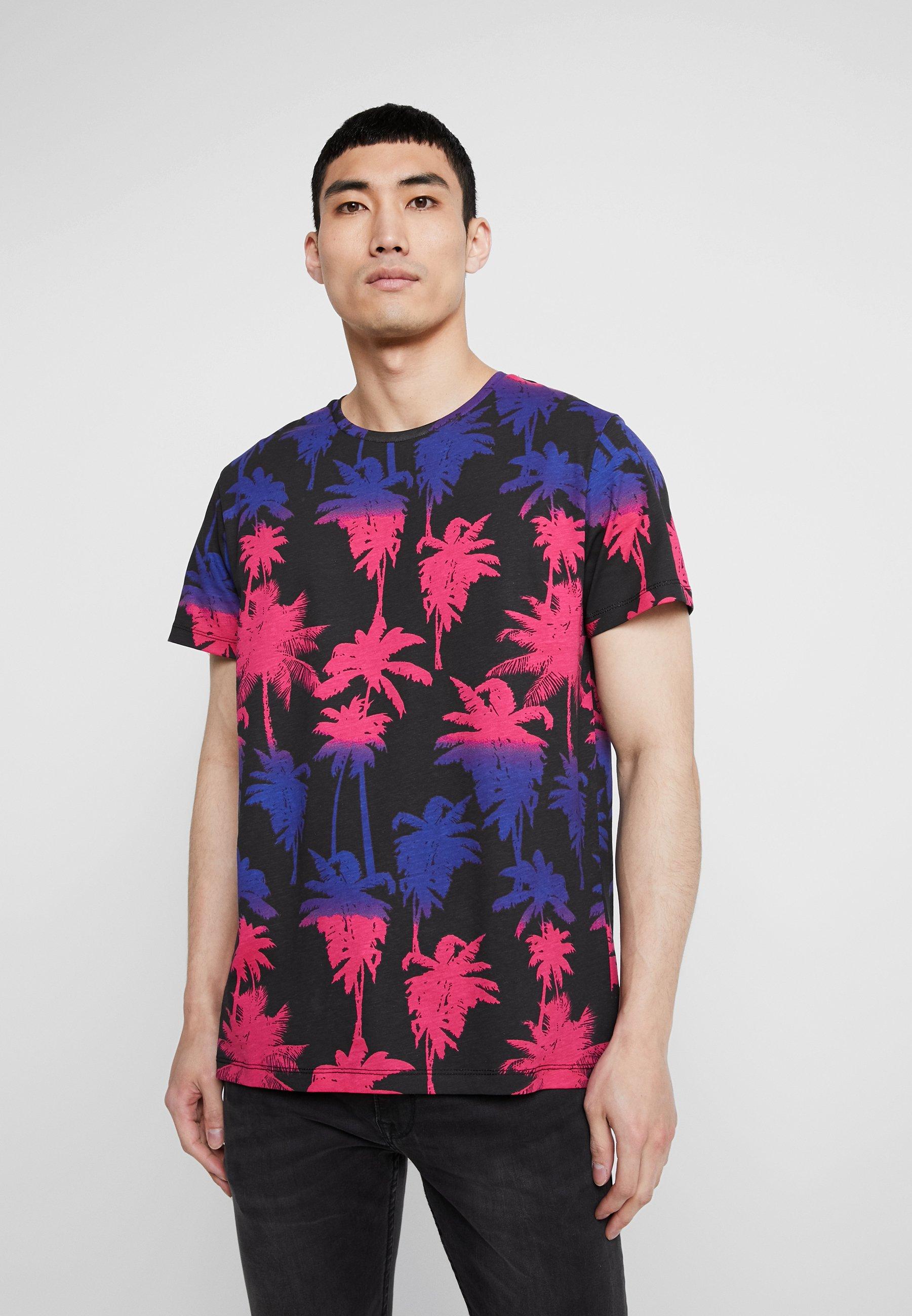Shirt NECKT Jackamp; Jones TEE print black CREW fuschia JORTROPIC rose CxtsdhQrB