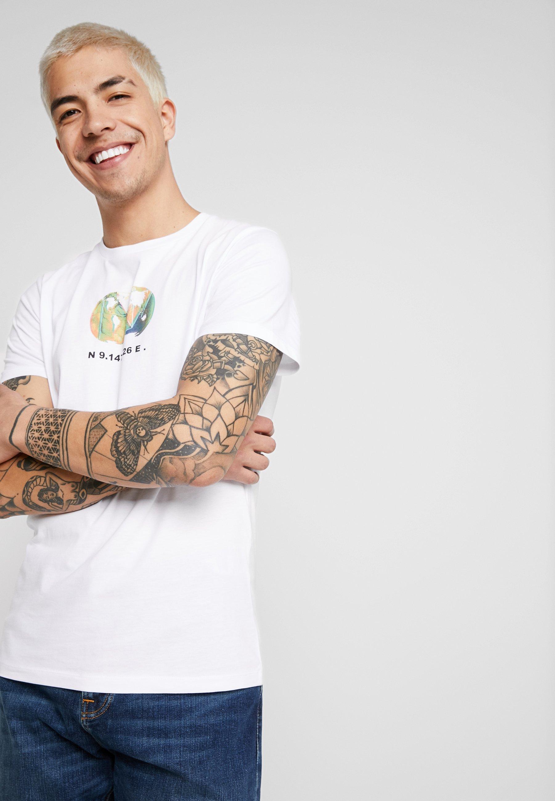 Jcographic NeckT Imprimé Jackamp; Jones shirt White Crew Tee b76yYvfg