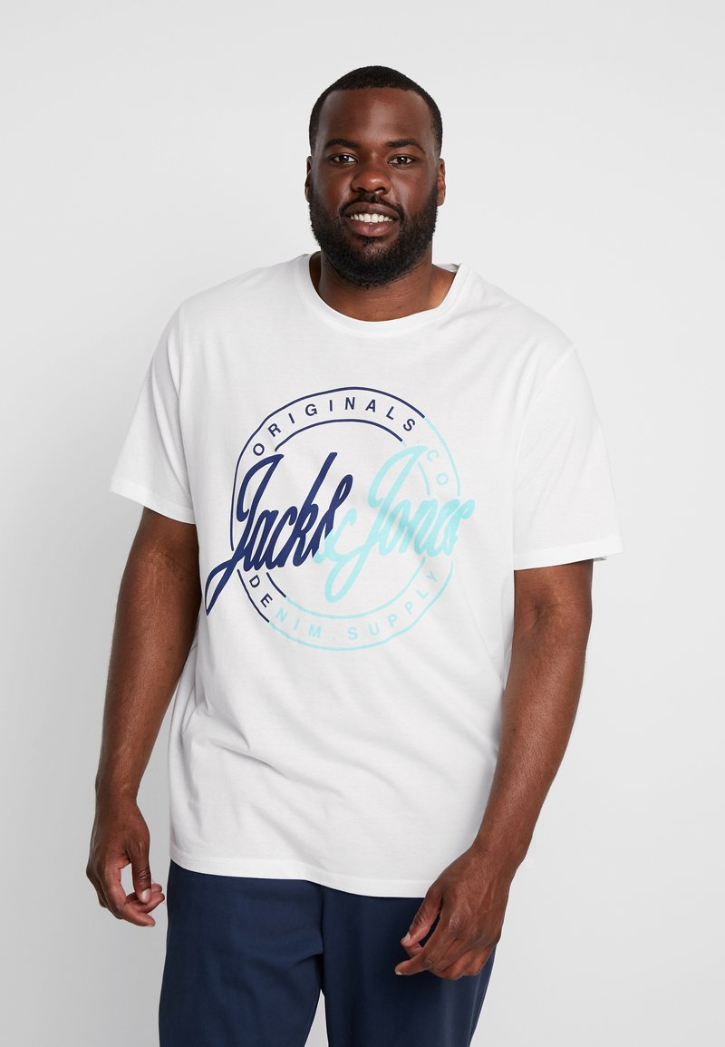 Jack & Jones - JORNEWRIVAL TEE CREW NECK - Print T-shirt - cloud dancer