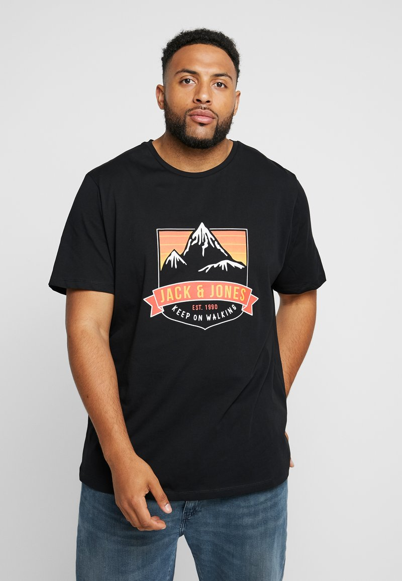 Jack & Jones - JORADVENTURE TEE CREW NECK - T-Shirt print - black