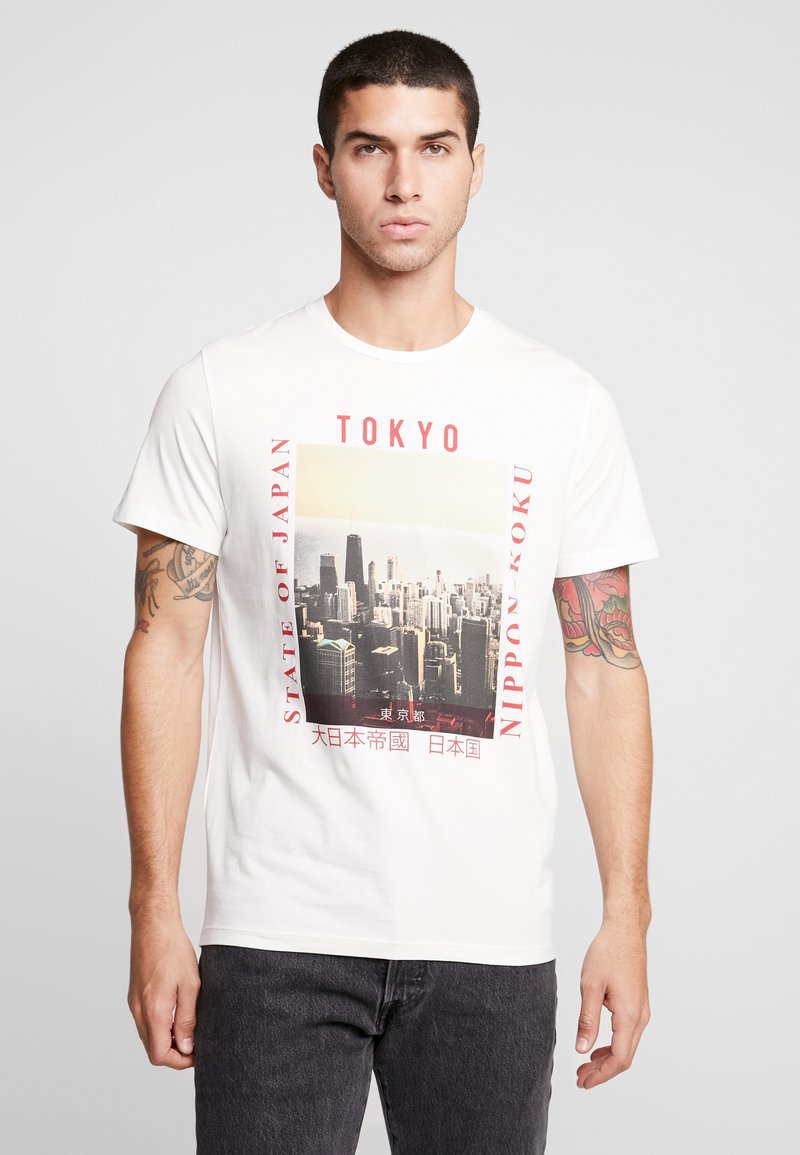 Jack & Jones - JORSTEIN TEE CREW NECK - T-Shirt print - cloud dancer