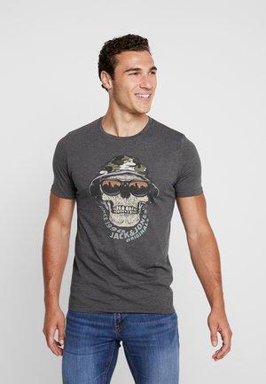 JORCONA TEE CREW NECK - Camiseta estampada - dark grey melange