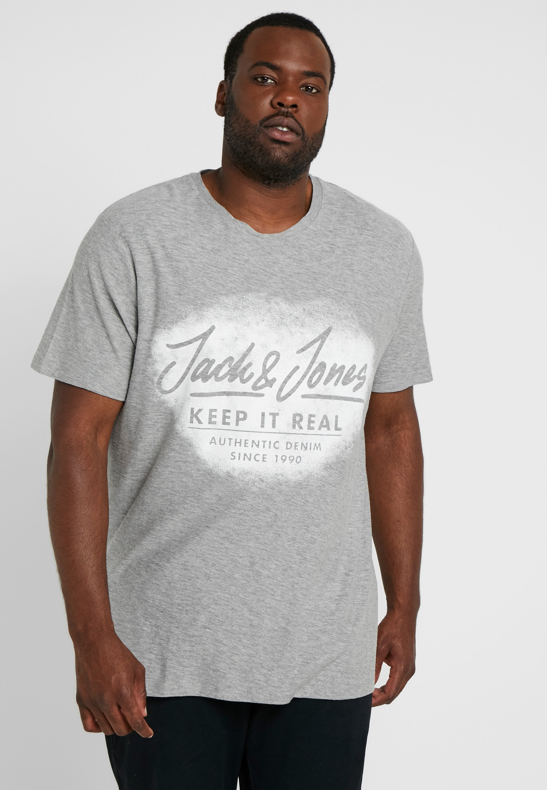 Jackamp; Crew Jones Con shirt NeckT Grey Melange Light Jorsprayed Tee Stampa J1clFK