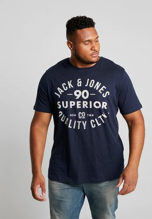 JJEJEANS TEE CREW NECK - Printtipaita - navy blazer