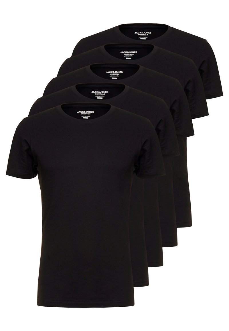 Jack & Jones - JORBASIC CREW NECK 5 PACK  - T-shirt - bas - black