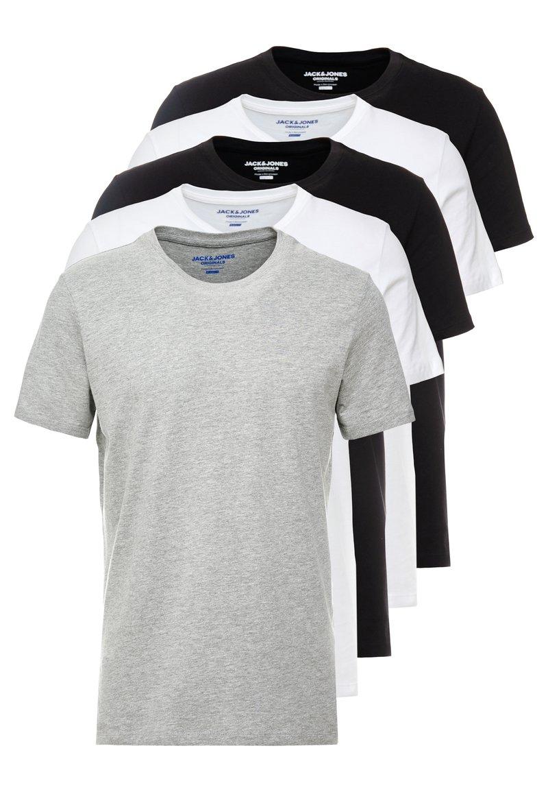 Jack & Jones - JORBASIC CREW NECK 5 PACK  - Camiseta básica - white/black/mottled grey