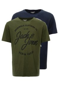 Jack & Jones - JORBASIC TEE 2-PACK PRINT COLOR - Jednoduché triko - forest night packed with total ecli - 0