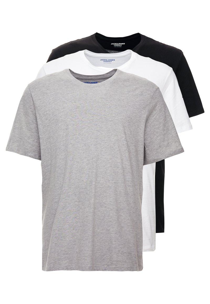 Jack & Jones - JORBASIC TEE CREW NECK 3 PACK - T-shirt basic - white/black/light grey melange