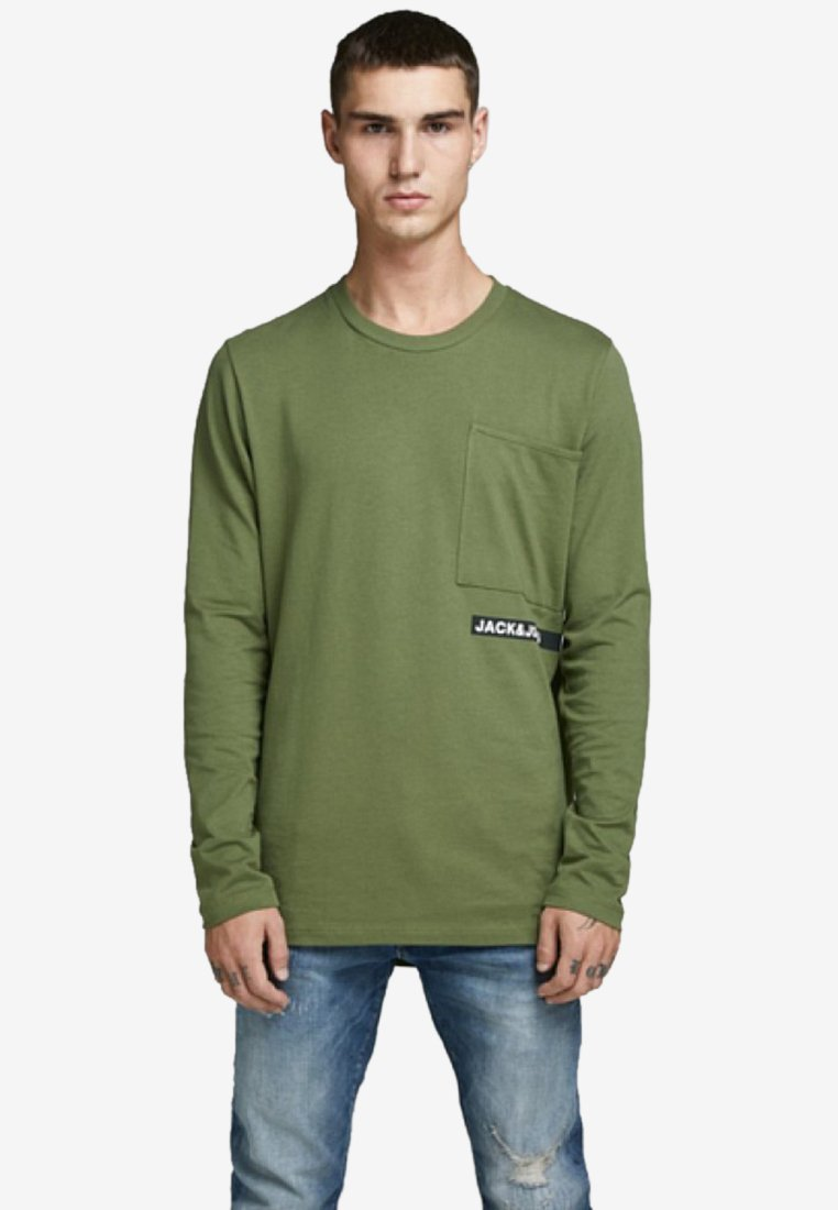 Jack & Jones - LONGSLEEVE RUNDSAUM - Pitkähihainen paita - winter moss