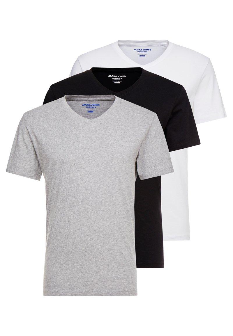 Jack & Jones - JORBASIC TEE V-NECK 3 PACK REGULAR FIT - T-shirt - bas - white//black/grey