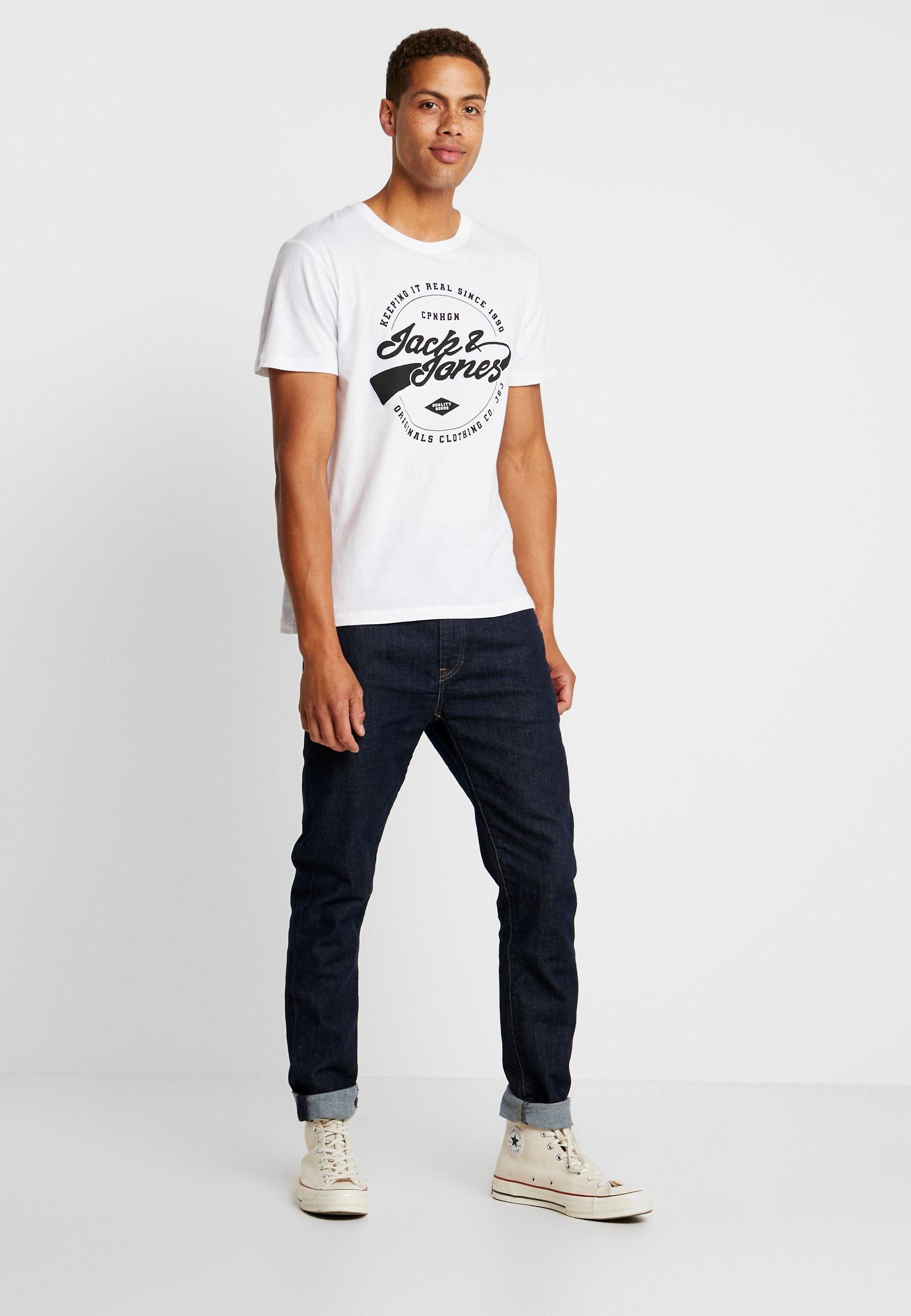 Tee shirt Con Stampa Jackamp; 2packT Jorbasic Jones WhiteBlack reoCxBWd