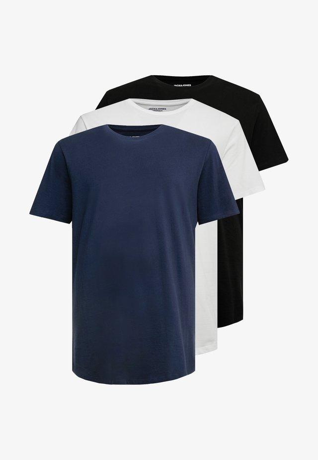 JORBASIC TEE CREW NECK 3PACK  - Basic T-shirt - black/white/total eclipse