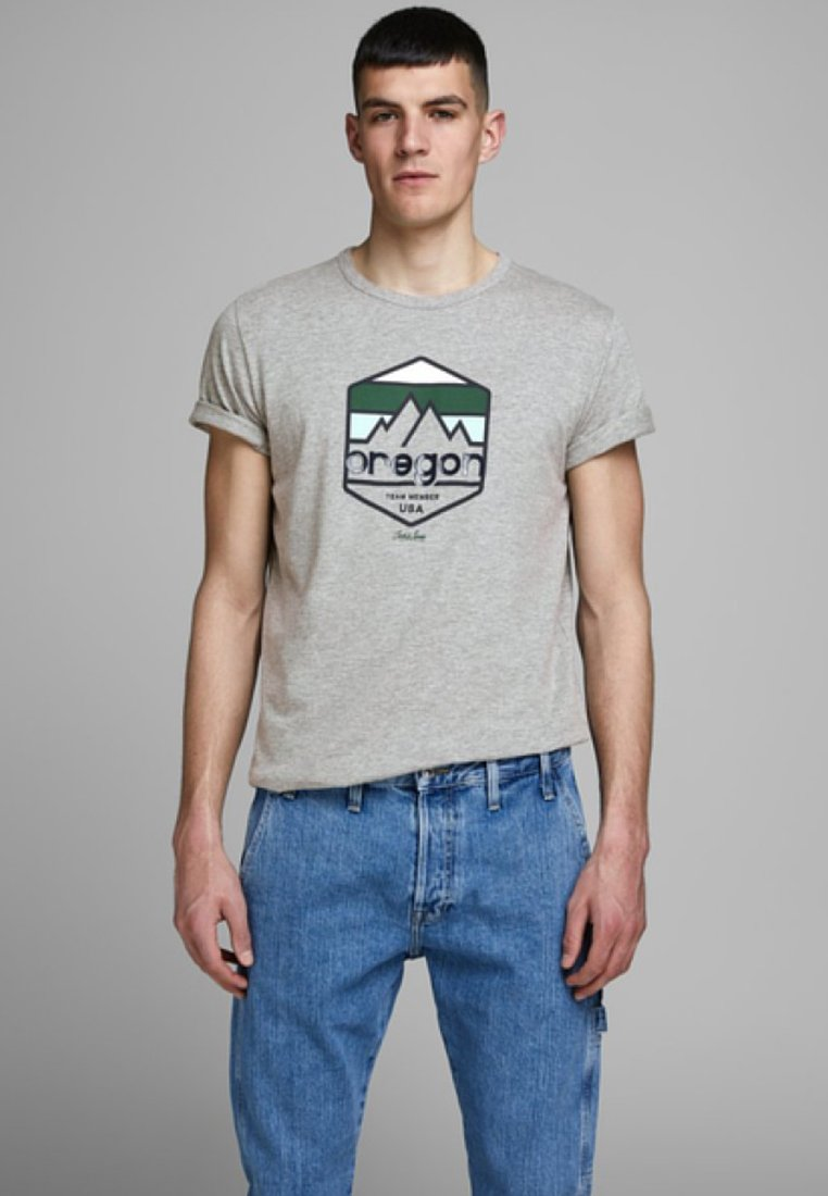 Jack & Jones US STATE - T-shirt z nadrukiem - light grey melange