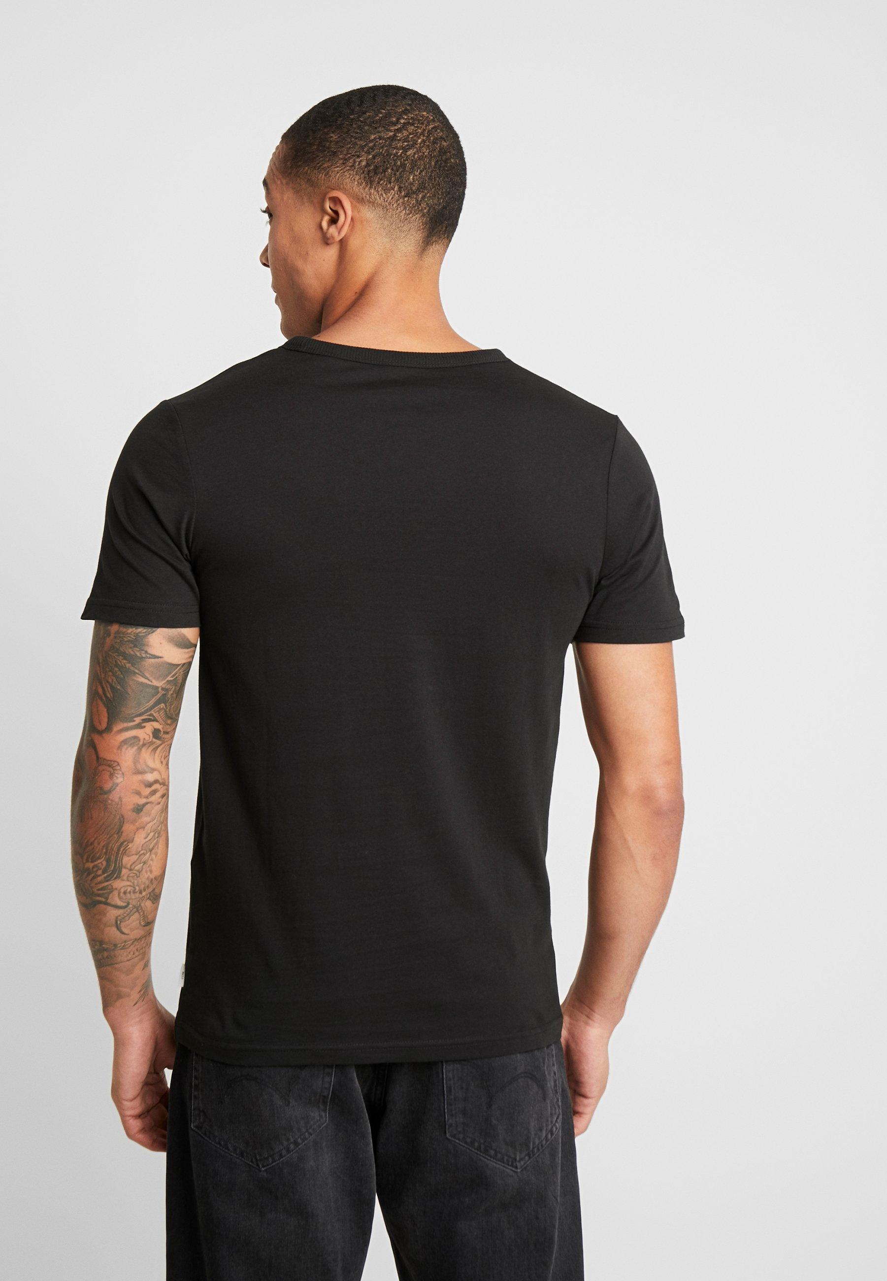 Jack & Jones JCOCHECK TEE CREW NECK SLIM FIT - T-shirt z nadrukiem - black
