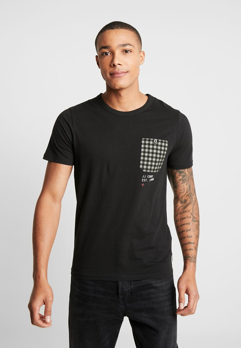Jack & Jones - JCOCHECK TEE CREW NECK SLIM FIT - Triko s potiskem - black