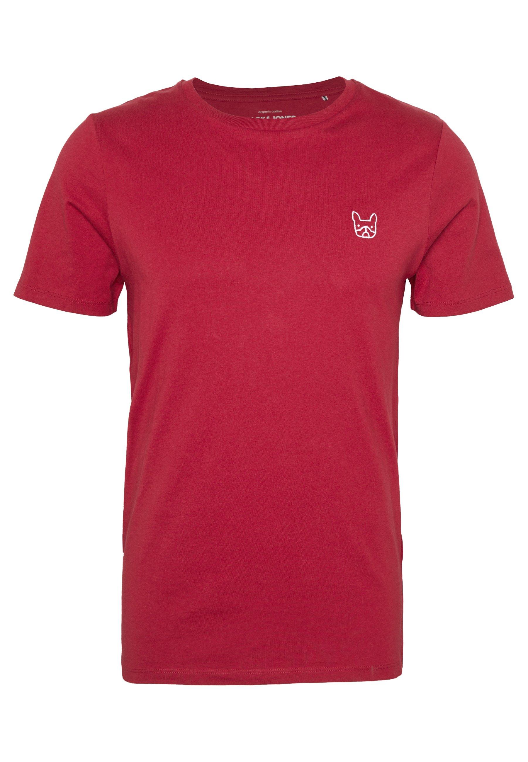 Jack & Jones JJEDENIM LOGO TEE O-NECK - T-shirt basic - rio red/white