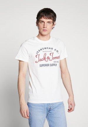 JJELOGO TEE SLIM - T-shirt print - cloud dancer