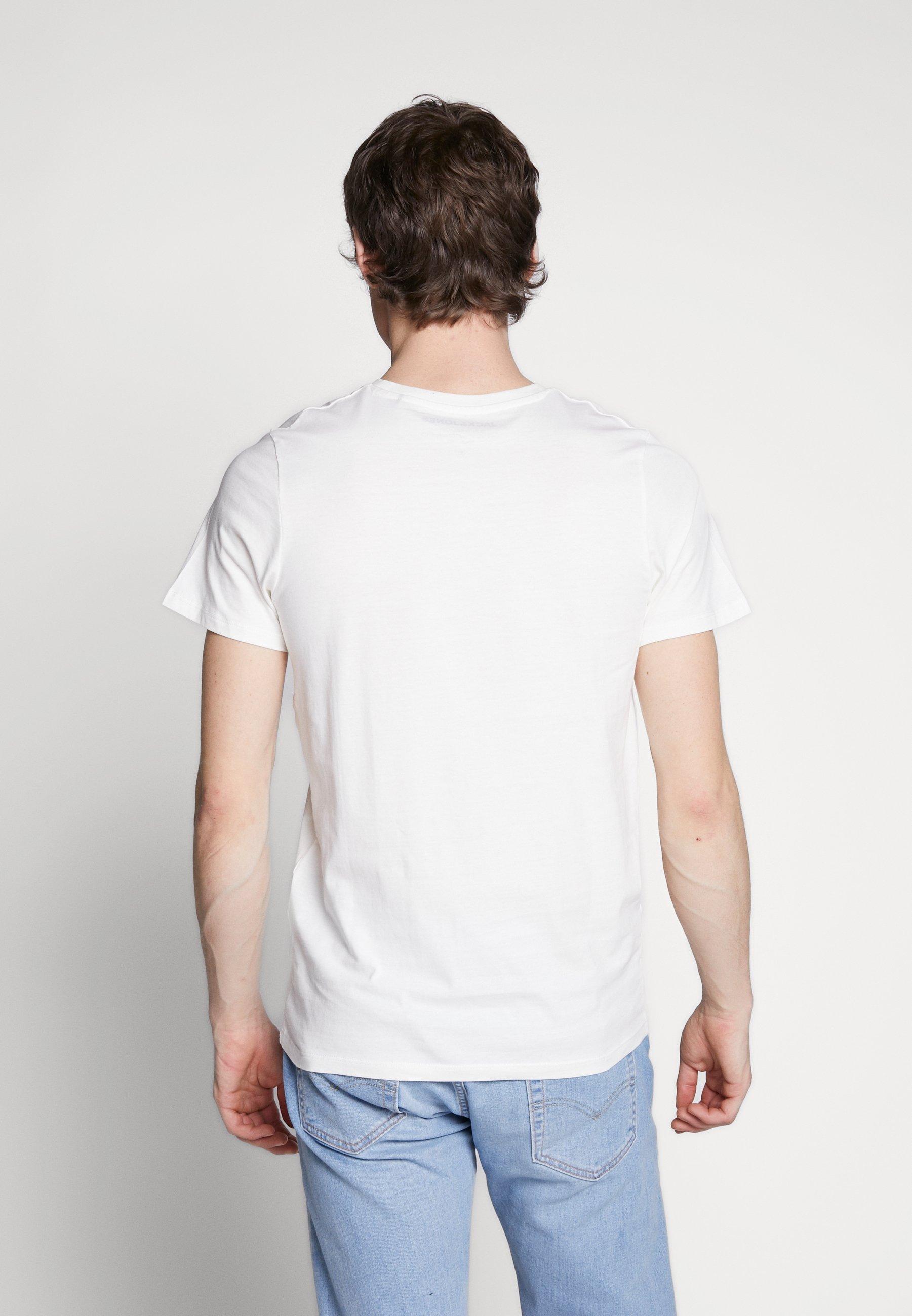 Jack & Jones JJELOGO TEE SLIM - Camiseta estampada - cloud dancer