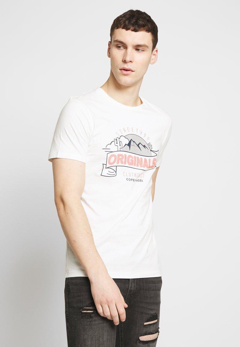 Jack & Jones - JORHAYES TEE  CREW NECK - T-Shirt print - white