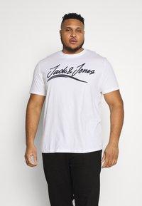 Jack & Jones - JORFLEXER 2 PACK - Print T-shirt - navy blazer/white - 1