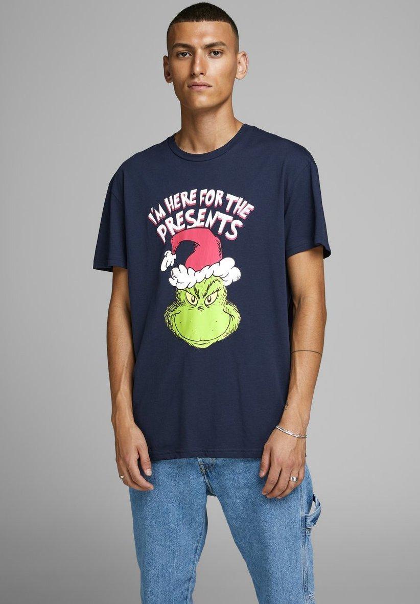 Jack & Jones THE GRINCH - T-shirt z nadrukiem - navy blazer