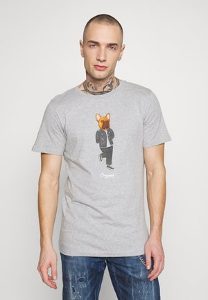 JORFRENCHIE TEE CREW NECK - T-shirt med print - light grey melange