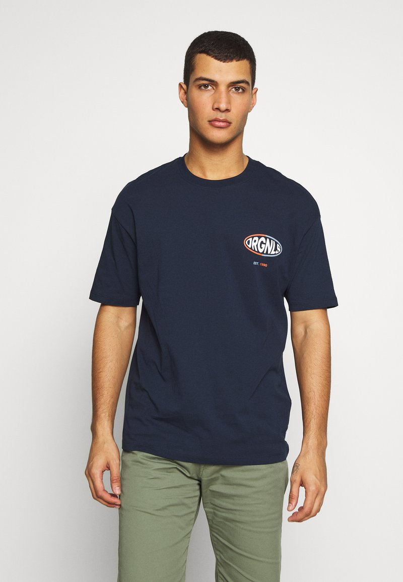 Jack & Jones - JORLOGGS TEE CREW NECK  - T-Shirt print - navy blazer