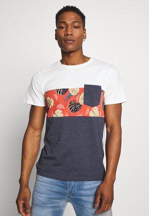 JORFLAME CUT TEE CREW NECK - Printtipaita - navy blazer