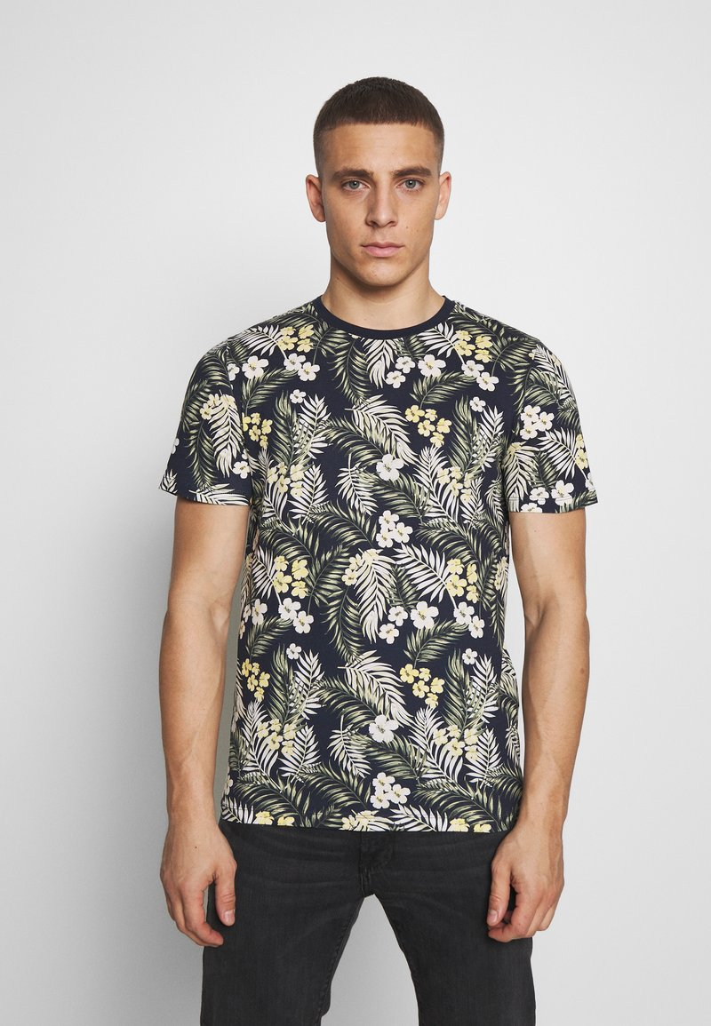 Jack & Jones - JORTROPIC TEE CREW NECK - T-shirt med print - navy blazer