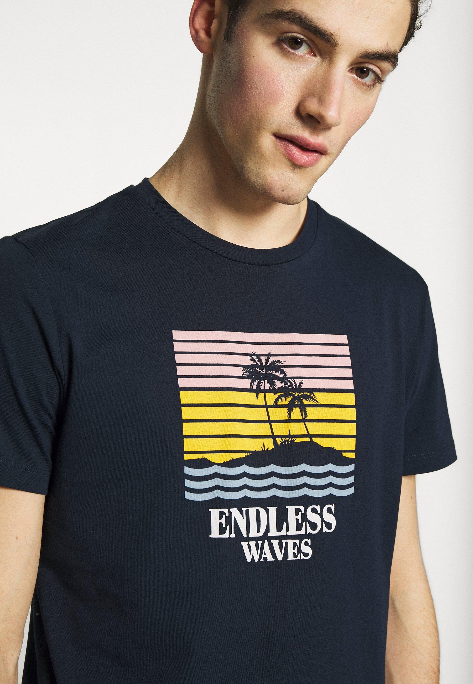 Jack & Jones JORSUNSET TEE CREW NECK - T-shirt z nadrukiem - navy blazer