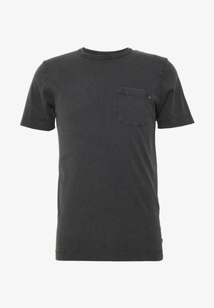 WASH TEE CREW NECK CAMP SLIM FIT - Jednoduché triko - black