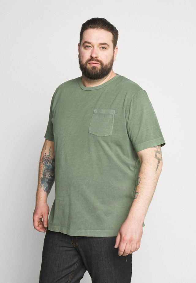 WASH TEE CREW NECK CAMP - T-Shirt basic - mottled teal