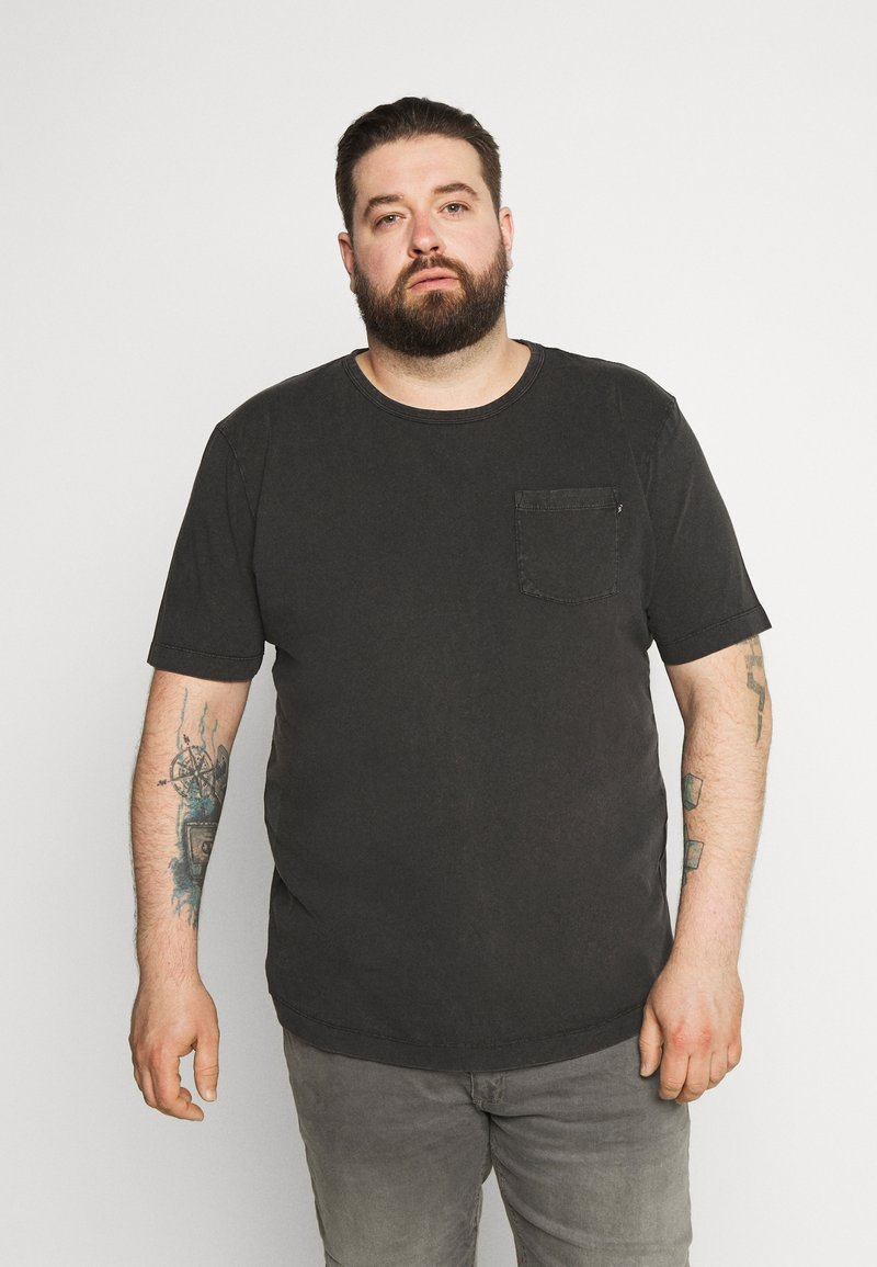 Jack & Jones - WASH TEE CREW NECK CAMP - Basic T-shirt - black